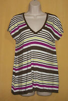 Max Edition Women's Multi Brown Green Stripe Oversize V T Shirt Ivory Top $78