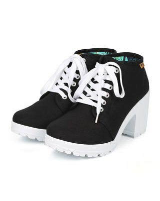 New Women Refresh Timber-02 Canvas Lace Up Lug Sole Chunky Heel Ankle Bootie