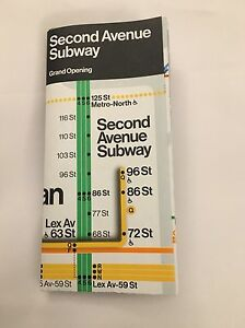 New Second Avenue Subway New York Mta 2017 Grand Opening Map Ebay