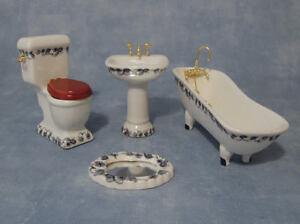 4 piece ceramic bathroom set blue white design dolls house miniature ebay - Bagno in miniatura ...
