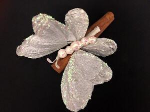 Segnaposto Natalizi Con Cannella.Dettagli Su Decorazioni Natalizie Cannella Farfalla Bianca Glitter Natale Addobbi Segnaposto
