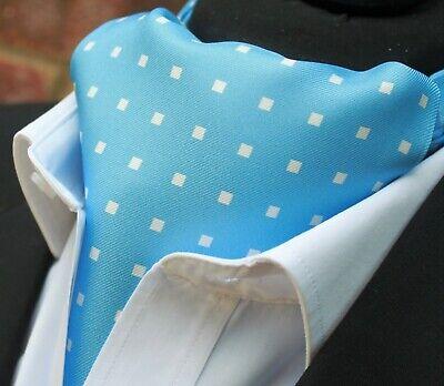 Silk Foulard Da Collo Ascot. Quality Hand Made In Uk. Polvere Blu Con Bianco Dbc02-16420-12-mostra Il Titolo Originale