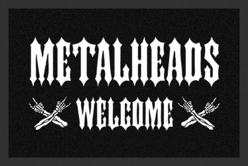 """Türmatte Fußmatte /""""Metalheads Welcome/"""" Schwarz Weiß Nr.168 Rockbites 100822"""