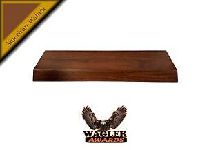 "Walnut Wood Trophy Award Base with Slant Front 13.5""x 3""x .75"" - Wagler Awards"