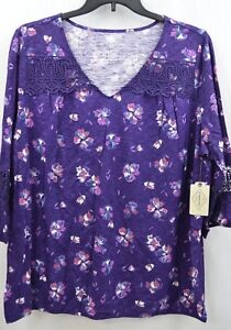 St-John-039-s-Bay-Women-039-s-Purple-Floral-V-Neck-Blouse-3-4-Sleeve-Top-Plus-Size-2X