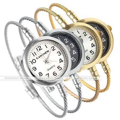 Wire Rope Round Quartz Analog Wrist Watch Cuff Bangle Bracelet Band Watch Gift