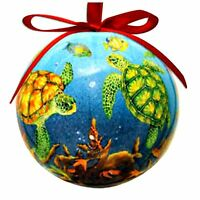 Sea Turtle Reef Christmas Ornament High Gloss Resin Red Ribbon 3 Inch Ball