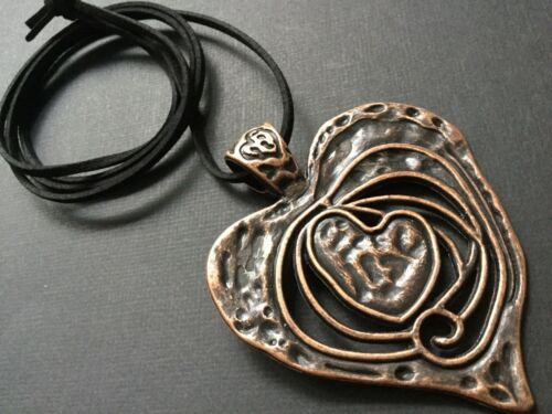 Long BLACK Suede Necklace With A Large Statement GOLD And COPPER Heart Pendant