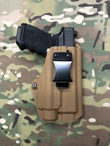 Coyote Tan Kydex Holster for Glock 19 23 Threaded Barrel Streamlight TLR-1