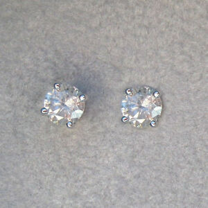 Details About Vs1 1 00 Ct Real Diamond Earrings Solid 14 Kt White Gold Studs Womens Wedding