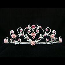 Pink Roses Bridal Rhinestone Crystal Prom Wedding Tiara 7299