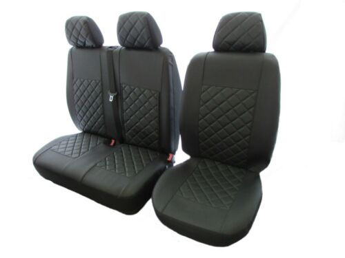 VOLKSWAGEN Transporter T5 AFTER 2004 LHD or RHD BLACK ECO LEATHER Seat Cover 2+1