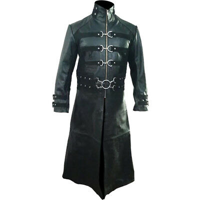 Mens Real Black Leather Goth Matrix Trench Coat Steampunk Gothic Van Helsing