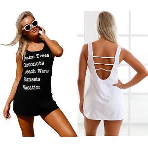b5092994f4 Black graphic tank swim cover up dress womens swimwear beach sexy ...