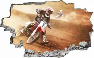 Motorrad-Rennen-Motocross-Wandtattoo-Wandsticker-Wandaufkleber-C1113