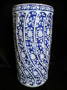 Chinese-Large-Vintage-Cobalt-Blue-amp-White-Swirl-Panels-Floor-Vase-18-1-8-034-Tall