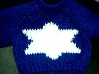 Israeli Flag Star Of David Jewish Sweater Handmade for 18 inch Build A Bear