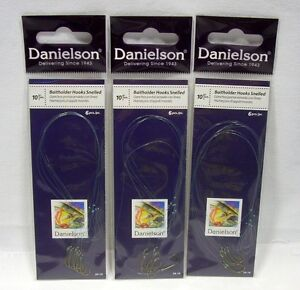 3 Packages Danielson Size 10 Snelled Baitholder Fishing Hooks Crappie Trout