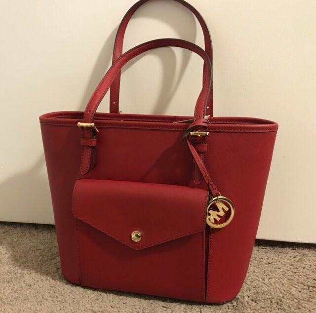 f77c30917addfb NWT New Michael Kors Jet Set Travel Scarlet Red Medium Leather Tote Bag $228