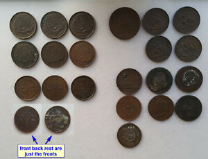 lot-22-Canada-large-cent-half-one-penny-bank-tokens-coins-1800s-circulated
