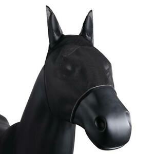 HORSE-FLY-MASK-FACE-HOOD-FINE-MESH-BLACK-COMFORT-SEAMS-INSECT-PROTECTION
