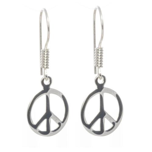 Ohrringe Peace Zeichen 925 Sterling Silber massiv Schmuck Bella Carina Frieden