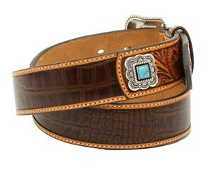 Ariat Western Mens Belt Leather Floral Embossed Pierced Brown A1026467