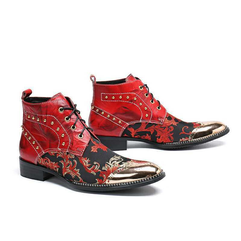 Mens Punk Lace Up Rivet Pointy Toe Leather shoes Party Ankle Boots Plus Size New