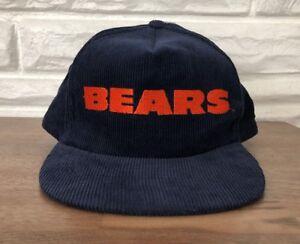 ad7be45c Details about Vintage 80s Starline Chicago Bears Corduroy Snapback Hat Cap  NFL Ditka Era New