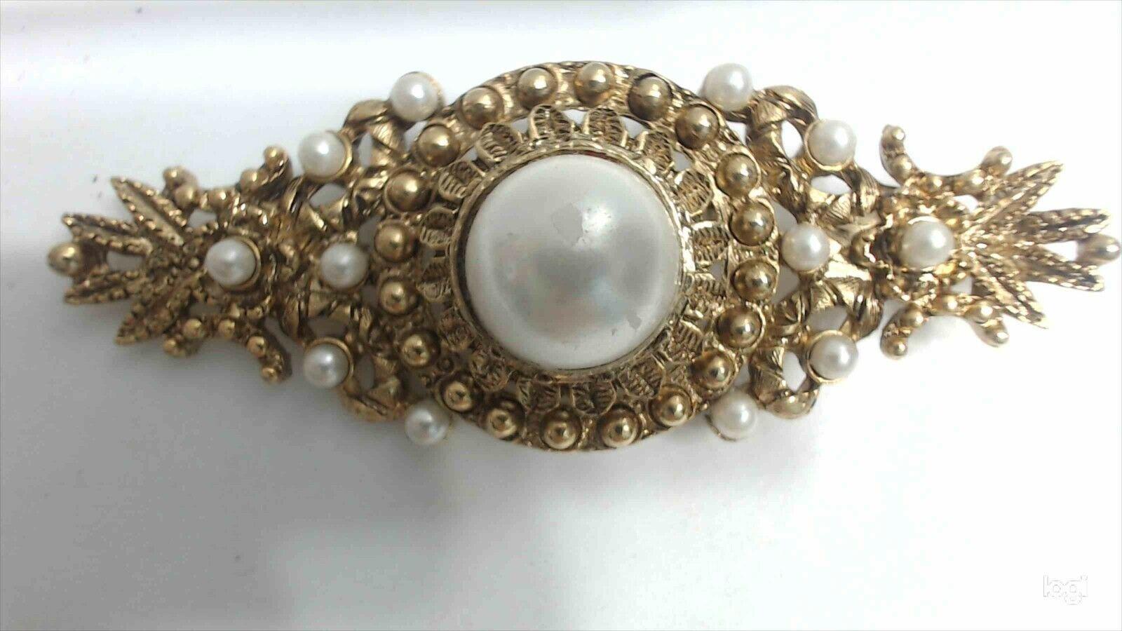 Vintage Baroque Gold Tone Faux Pearl Ornate Bar B… - image 1