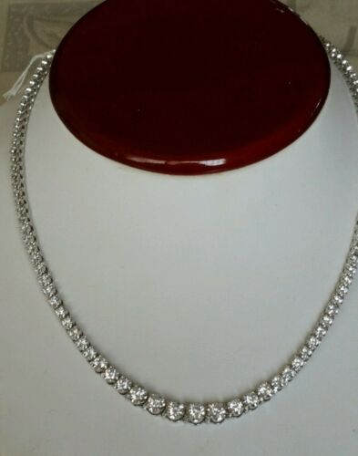 """Necklace sterling silver and cz 18/"""""""