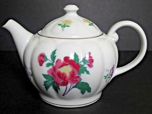 Laura-Ashley-Pink-Yellow-Flowers-Teapot-With-Lid