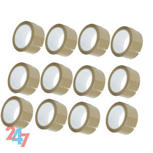 12 BROWN ROLLS PARCEL PACKING TAPE 66m x 48 ADHESIVE PACKAGING SELLOTAPE D065