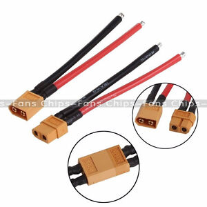 Conector-macho-de-Bateria-2PCS-de-XT60-Enchufe-Hembra-con-14-AWG-Cable-de-silicio