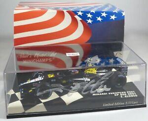MINARDI-PS01-14-Fernando-ALONSO-F1-2001-USA-GP-INDY-signed-box-MINICHAMPS-1-43
