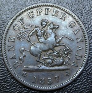 1857-BANK-OF-UPPER-CANADA-ONE-PENNY-BANK-TOKEN-COPPER-Dragon-Slayer-BR719
