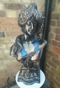 Skillful Knitting And Elegant Design Antiques Periods & Styles Reliable Art Nouveau /deco Style Metal Bronze/ Copper Effect Lady Female Large Bust Head To Be Renowned Both At Home And Abroad For Exquisite Workmanship