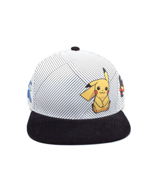 c3dd5917227 OFFICIAL NINTENDO POKEMON SUN   MOON CHARACTERS STRIPES WHITE SNAPBACK CAP  ...
