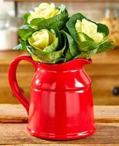 Vintage Inspired Red Crock Vases Ceramic Country Pitcher Crock Utensil Holder