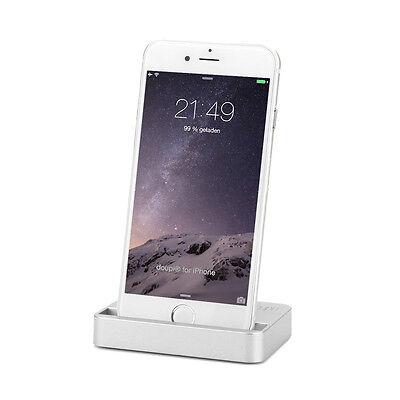 Dockingstation iPhone 8 7 6 6S Plus 5 5C SE iPod Lade Ständer Daten Sync Silber