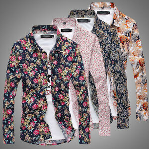 569af41ff72 Fashion Mens Luxury Stylish Floral Slim Fit Long Sleeve Dress Shirt ...