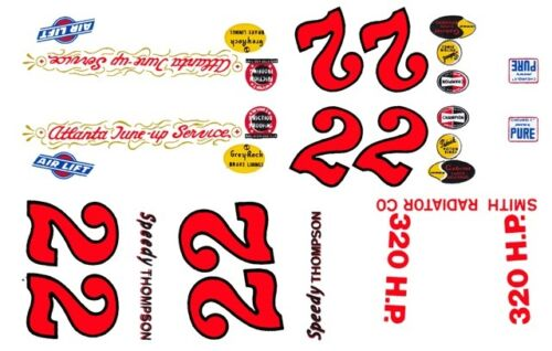 1//25th Scale Decal #22 Speedy Thompson Atlanta Tune Up Service 59 Chevy 1//24th