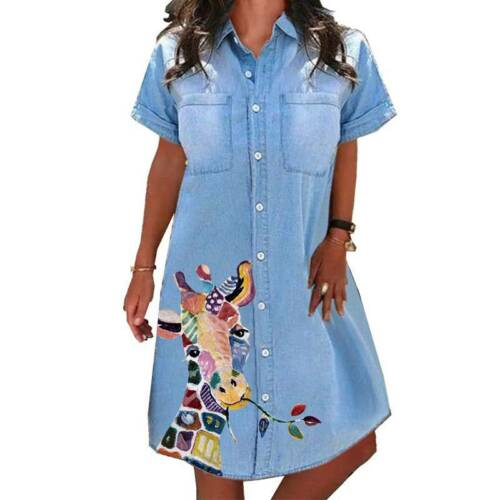 Womens Giraffe Denim Jeans T Shirt Dress Ladies Casual A-Line Dress Plus Size