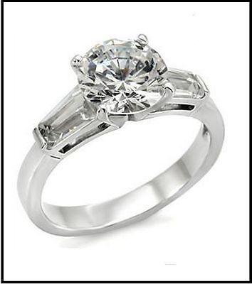 Stahl Edelstahl 316 / Zirkonia 3,75 Cta Jahrestag Hochzeit Objective Ring Verlobung