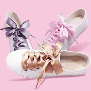 3d2bbab2104 Unisex Ribbon Satin Shoe Laces Flat Sport Shoelaces Various Colors ...