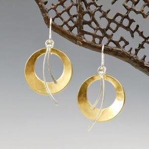 Details about Marjorie Baer Gold Silver Two Tone Cutout Discs & Curves  Earrings Modern Unique