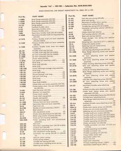 1957-61 CORVETTE CARTER WCFB DUAL QUAD DATA SPEC SHEET 2613S 2614S 3182S REPRINT