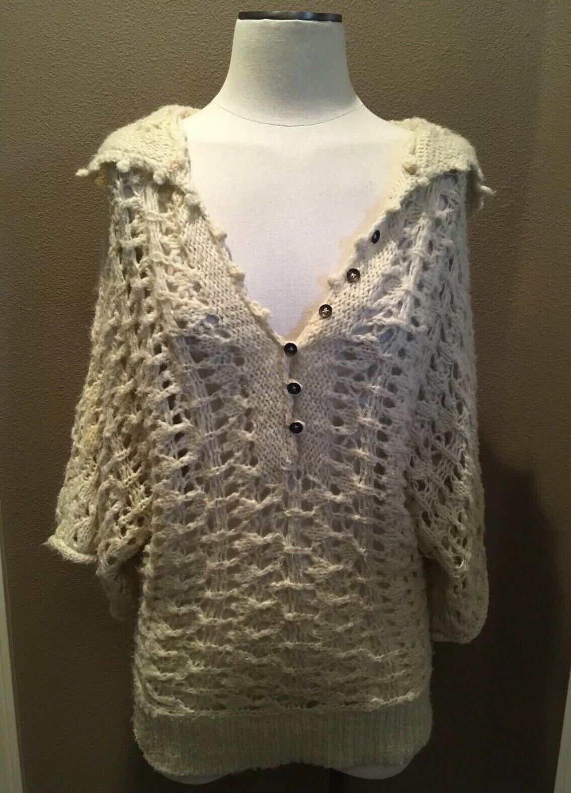 Free People S Sweater Top Cream Knit Hoodie 3 4 Dolman Sleeves