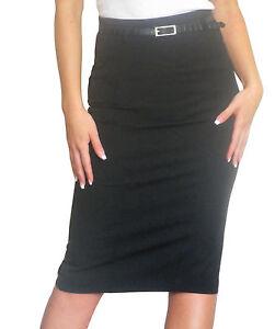 Ladies-Pencil-Skirt-Bodycon-Midi-Size-8-10-12-14-16-18
