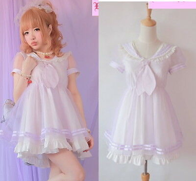Girls Princess Dolly Lolita Kawaii Party Sweet crew neck Dress + Tie S~L Purple